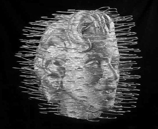 Marilyn Head in Coat Hangers by David Mach