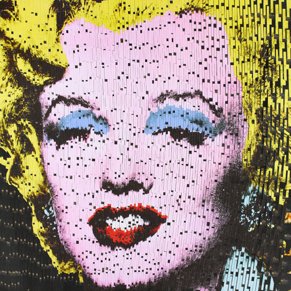 Marilyn - mixed media postcards on woodm - by David Mach