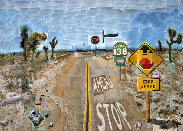 David Hockney, Pearblossom Highway, 11-18 April 1986. Photographic collage 119.4 x 163.8 cm. Held by the J. Paul Getty Museum, Los Angeles.