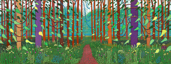 David Hockney, The Arrival of Spring in Woldgate, East Yorkshire in 2011. Oil on 32 canvases (each 91.4 x 121.9 cm), 365.8 x 975.4 cm; one of a 52-part work. Photo credit: Jonathan Wilkinson