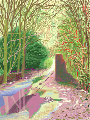 David Hockney, The Arrival of Spring in Woldgate, East Yorkshire in 2011. iPad drawing printed on paper 144.1 x 108 cm; one of a 52-part work.