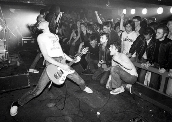 Courtesy of Ian Dickson. The Ramones at Eric's Club, Liverpool, England