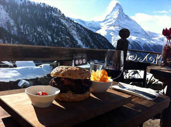 Ski in, ski out burger at Chez Vrony, Zermatt