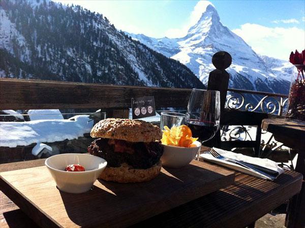 Ski in, ski out burger at Chez Vrony, Zermatt