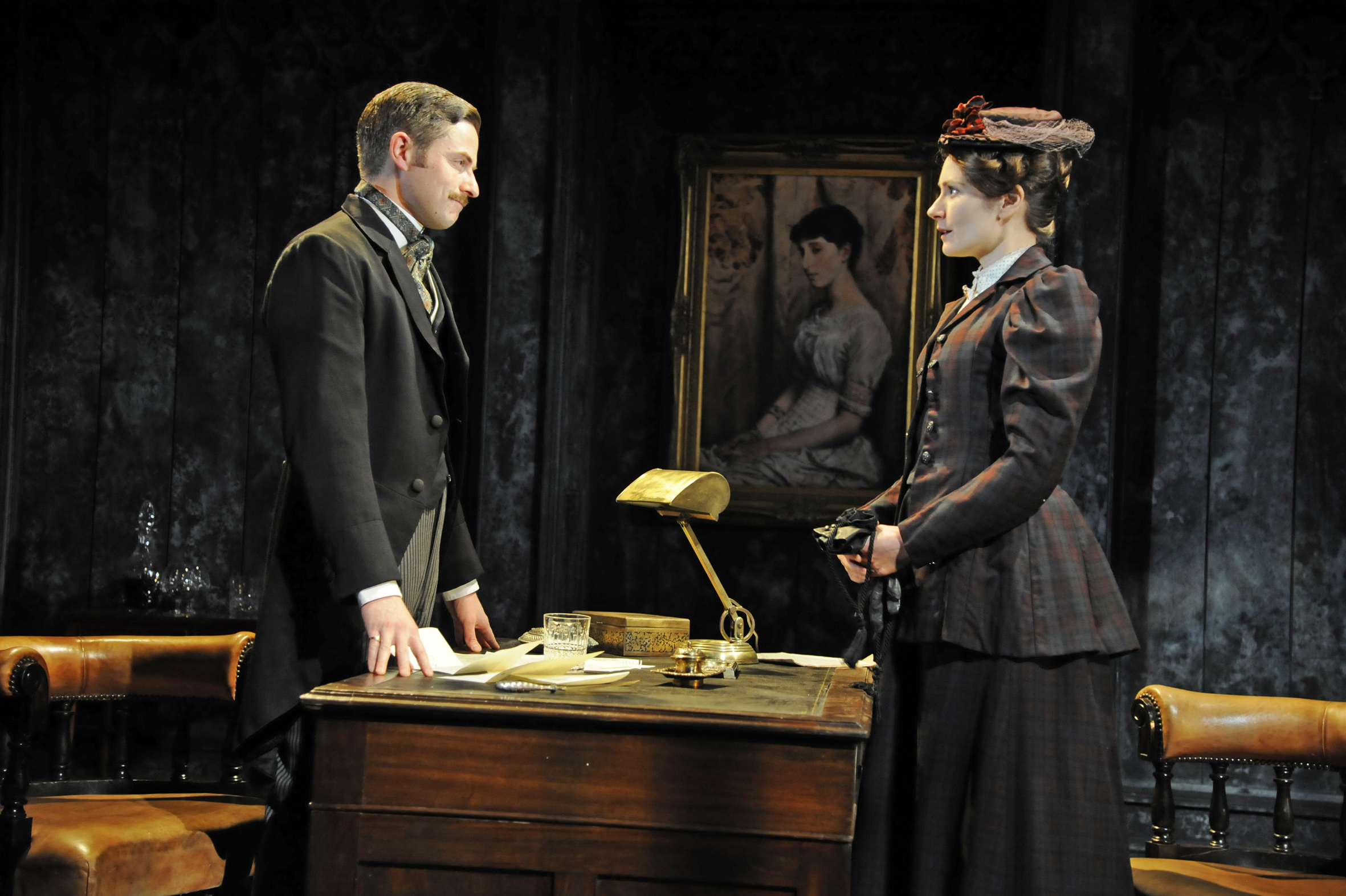Orlando Wells (Sackville) and Anna Madeley (Governess) in The Turn of the Screw at the Almeida Theatre. Photo credit Nobby Clark