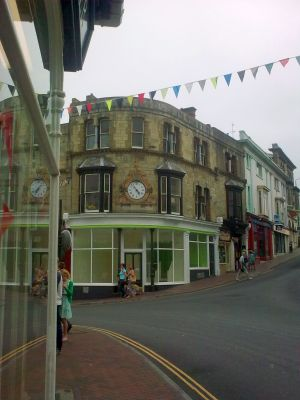 Central town with bunting