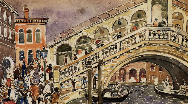 Detail, 'Rialto Bridge' (1912) by Maurice Prendergast