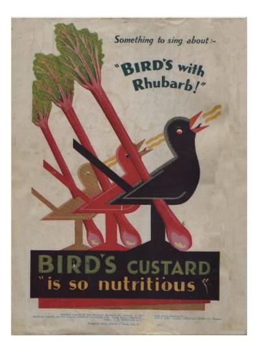 Birds rhubarb print