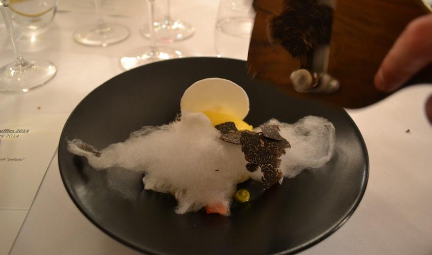 Candy floss and truffle dessert