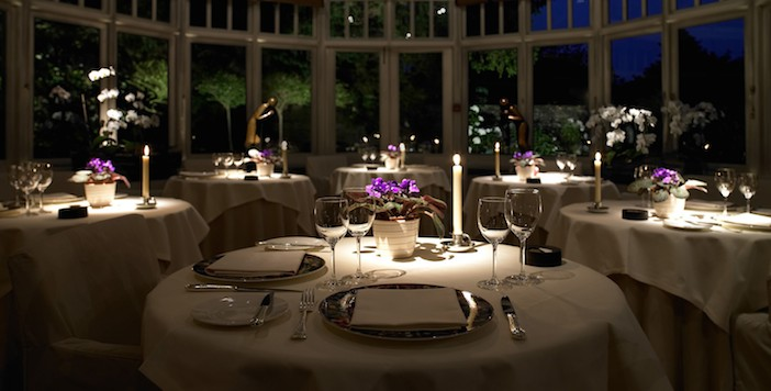 Le Manoir Conservatory at night